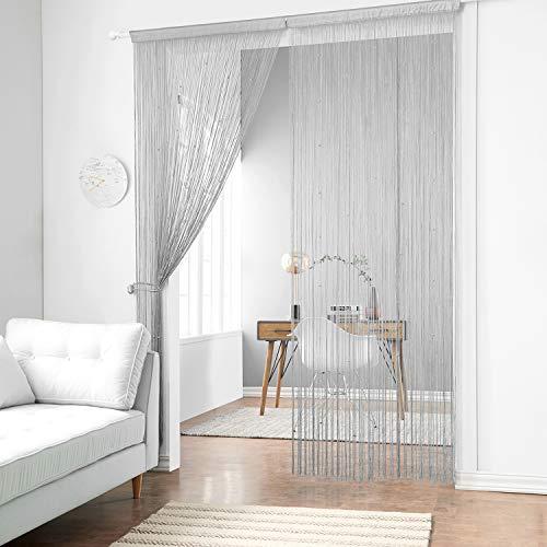 taiyuhomes Classic Spaghetti String Vorhang für Home Decor und Trennwand mit Ornament pearl-shaped Perlen Design perfekt, wie Fliegengitter, grau, 90 x 200cm (35x79