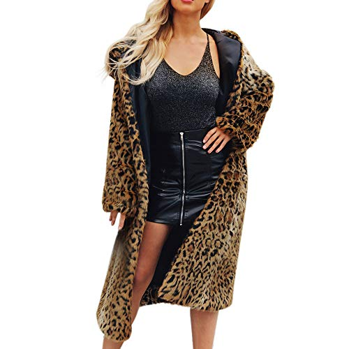 Longra Damen Mantel Winter Elegant Warm Faux Fur Kunstfell Jacke Leopard Pelzmantel Fell Winterjacke Cardigan Trenchcoat Mit Kapuze Fleecejacke Lang Mantel Coat Wintermantel Outwear (s, Gelb) Leopard Trenchcoat