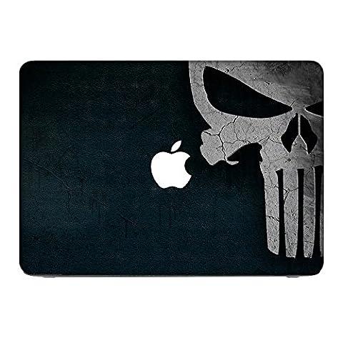 Zeug 10014, Schädel, Skin-Aufkleber Folie Sticker Laptop Vinyl Designfolie Decal mit Ledernachbildung Laminat und Farbig Design für Apple MacBook Pro Retina