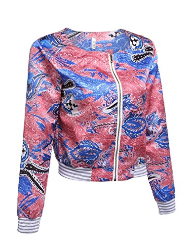 ZEARO Retro Damen Jacke Blazer Anzug Blumen Schlank ZIP Up Jacket Outwear Mantel - 3