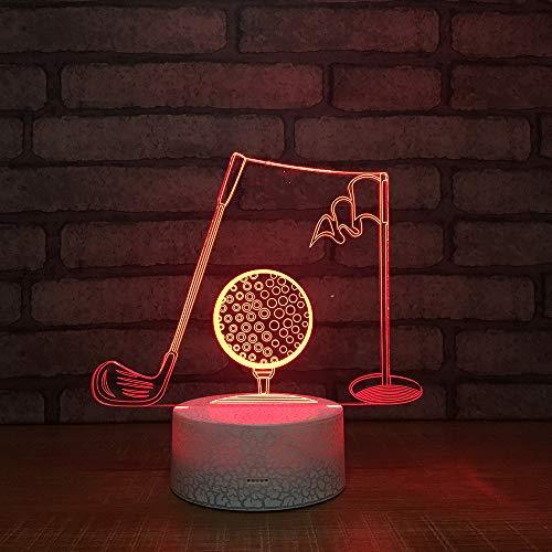 3D Illusione Ottica Led Lampada di Illuminazione Luce Notturna 7 Colori con Acrilico USB Batteria Notturna Touch Control Crack Base Golf