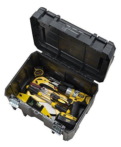 Stanley FatMax Werkzeugkoffer / Werkzeugbox TSTAK VII (tiefe Ausführung mit breitem Tragegriff, mit Etikettenhalter, rostfreie Metallschließen, über seitliches Verbindungssystem stapelbar) FMST1-75796