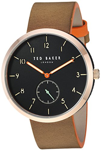 Ted Baker Men's 'JOSH' Quartz Stainless Steel and Leather Casual Watch, Color:Brown (Model: TE50011006)