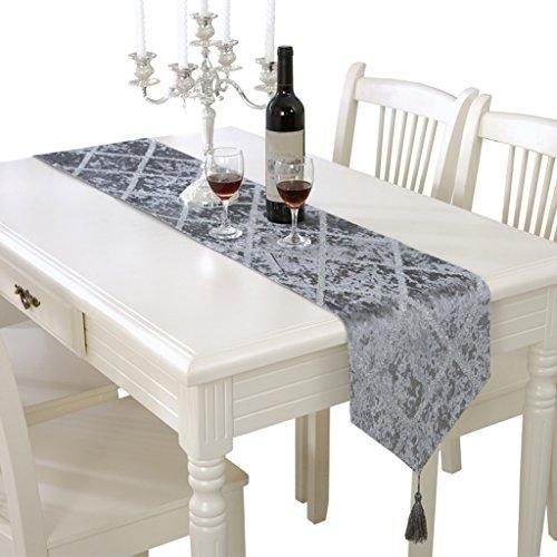 Seide Luxus Streifen (European Luxus erweiterte Streifen helle Seide Tischläufer- Coffee Tischtuch, Home dekorative, romantische Party -Max Home ( Farbe : Grau , größe : 28*210cm ))
