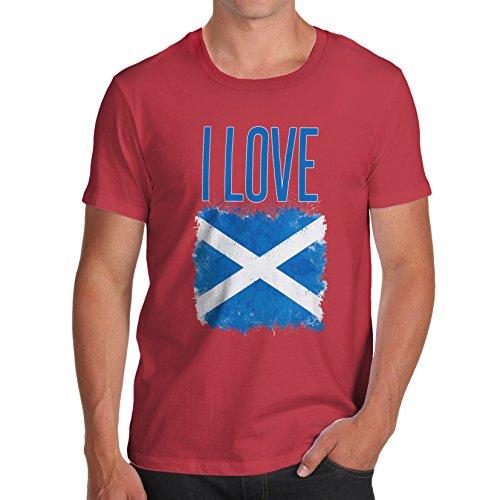 Herren I Love Scotland T-Shirt Rot