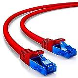 deleyCON 25m Cat.6 Ethernet Gigabit LAN Cable de Red RJ45 CAT6 Cable de Conexión U/UTP Compatible con Cat.5 Cat.5e Cat.6a Cat.7 - Rojo