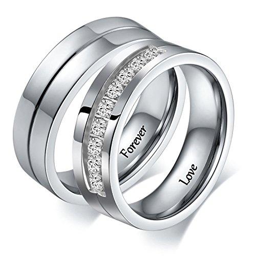 Aeici Stianless Stahl Silber Forever Love Paare Versprechen Ring Romantische Paare Geschenk Frauen Größe 60 (19.1) & 62 (19.7)