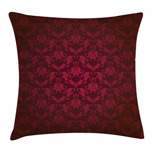 Juchenjixie maroon federa per cuscino, stile vittoriano motivo damascato con effetto vignette royal revival antica rich motivi decorativi, square accent pillow case, 45,7x 45,7cm, marrone nero
