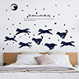 Gruppe Von Wölfen Mond Sterne Silhouette Wand Aufkleber Wolf Unter Himmel Schlafzimmer Wohnzimmer Tv Wand Dekoration Decals Diy Kunst Wandbild