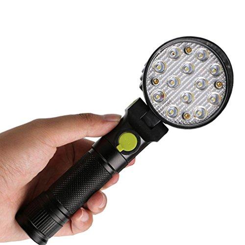 Jaminy 12 LED, Heller, Blendender Effekt Wiederaufladbare Magnetische LED Arbeit Licht Magnet Taschenlampe Mit Haken Falt Brenner Taschenlampe + Energieklasse +Wasserdicht Lampe -