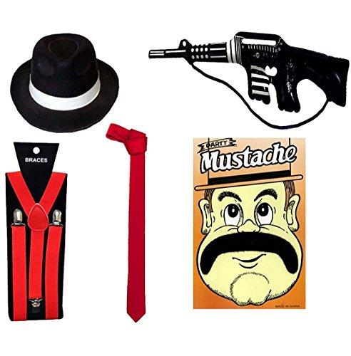 Islander Fashions Mens Gangster Gonfiabile Pistola giocattolo rosso Bretelle Black Hat Baffi Rosso Set cravatta in raso