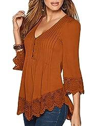 Mujer De Encaje Empalme Escote V Casual Elástico Manga Larga Camisas Blusas Suelto Verano Naranja 4XL