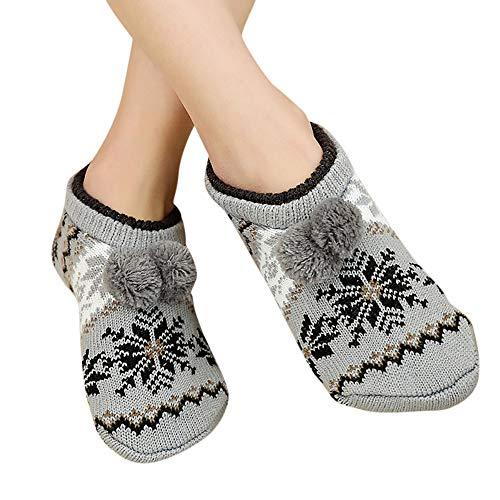 UJUNAOR Erwachsene Fußbodensocken für Weihnachten - Rutschfeste Dicke Niedrige Socken Teppichsocken(C,One Size)