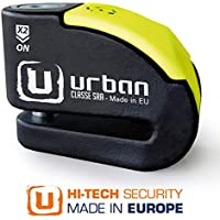 Urban Security UR10 Candado Antirrobo Moto Disco Alarma 120db +Warning, A+, Doble Cierre ø10, Homologado Sra, Negro/Amarillo 10 mm diámetro
