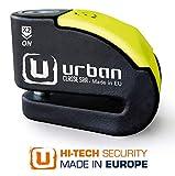 Urban Security UR10 Candado Antirrobo Moto Disco Alarma 120db +Warning, A+, Doble Cierre ø10, Homologado Sra, Negro/Amarillo 10 mm diámetro
