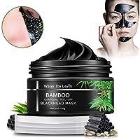 Chzeo Carbón De Bambú Máscara Negra, Black Mask Mascarillas exfoliantes y limpiadoras, Purifying Peel Off Máscara Remove BlackHead y Acné + 1 Espejo De Maquillaje 100g