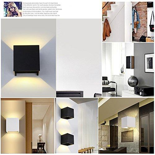 TVGO – Lampada da parete per interni/esterni, moderna, illuminazione LED da parete con angolo di irradiazione regolabile, IP 65, impermeabile, 3000 K, luce bianca calda (7W nero), alluminio, 7 W - 5