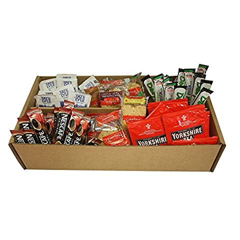 Tea & Coffee Welcome Pack - New Home Students B&B Hotel Holiday Pack Biscuits Sugar Milk (Yorkshire Tea & Nescafe Original)