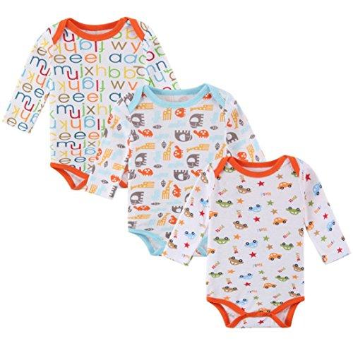 BeautyTop 3Pcs Infant Neugeborenes Baby Jungen Mädchen Kleidung Kleinkind Niedlich Gedruckt Strampler Jumpsuit Pyjamas Outfits (# 3, 60/0-3 Monate)