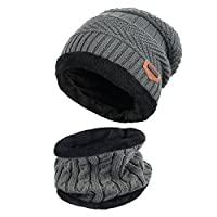 Thenice Childrens/Kids Warm Knitted Beanie Hat and Circle Scarf Set