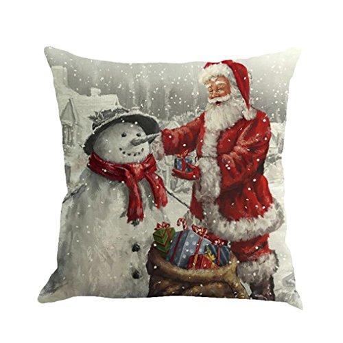 Longra Kissenbezüge 45cm*45cm Baumwolle Leinen Weihnachten Deko Kissenbezug Sofa Bett Auto Home Decor Festival Kissenhülle (A)