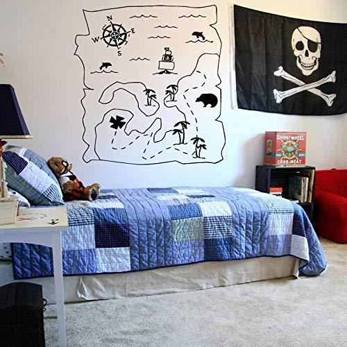 HNXDP Etiqueta de la pared Calcomanía Mapa de Nunca Jamás Peter Pan Barco de dibujos animados Pirata Nunca crezca Niños Niños Niños Habitación infantil42x44 cm