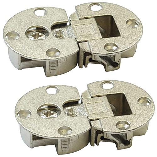 2 Stück - Klappenscharnier 3D-verstellbar Möbel Klappenbeschlag für Klappen aus Holz | Möbel-Scharnier zum Schrauben | Klappenhalter Stahl vernickelt | Möbelbeschläge von GedoTec® (Klappe Verstellbare)