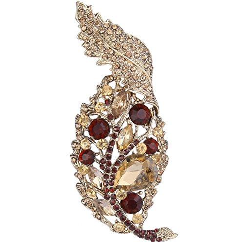 EVER FAITH® Gold-Tone di cristallo austriaci Art Deco Foglia Spilla Ciondolo Brown N05837-7
