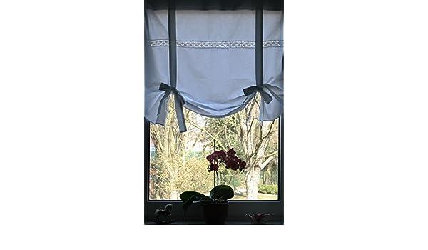 Leinenshop24 Landhaus Gardine Wei/ß Blau mit Spitze Raffrollo 100x100 Shabby Chic Retro Vintage Lola