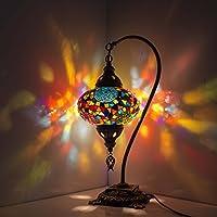 Lámpara de mesa de mosaico turco, impresionante estilo marroquí, pantalla de globo único, serie de cuello de cisne por TK BAZAAR