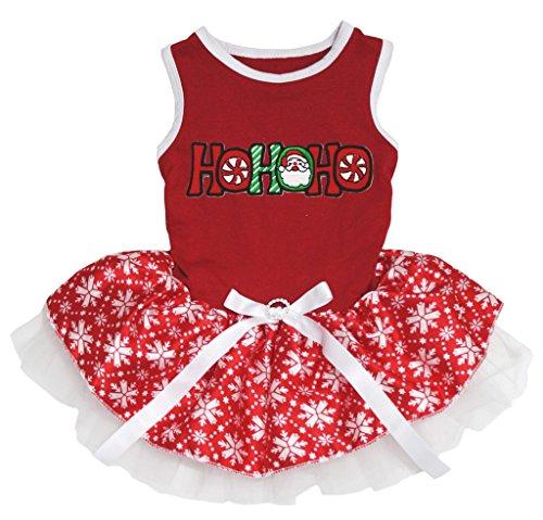 Dog Dress Santa Hohoho Red Cotton Snowflake Tutu Xmas Wear (S) ()