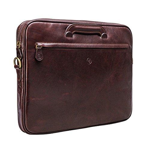 Maxwell Scott Bags® Luxus Aktenmappe aus italienischem Leder in Cognac Braun (Tutti) Dunkelbraun