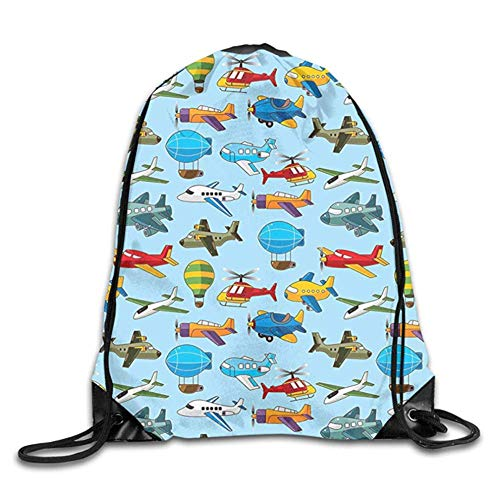 HLKPE Cute Airplane Helicopter Zeppelin Air Balloon Military and Toy Flights Nursery Pattern Cute Gym Drawstring Bags Travel Backpack Tote School Rucksack (Bag Helicopter Flight)