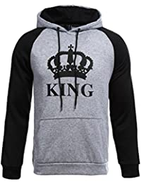 ZKOO Pareja Sudaderas con Capucha Mujeres y Hombres KING & QUEEN Corona Impresión Encapuchado Camisas Jersey Hoodie Casual