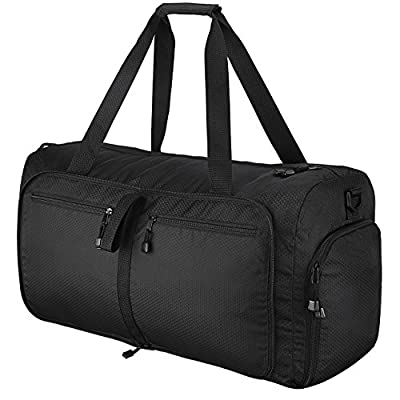 Travel Duffel Bag, OMorc 60L Large Foldable Sports and Gym Duffle Bag, Water-Resistant Travel Duffle Bag with Removable Shoulder Strap for Women and Men - Black - cheap UK light shop.