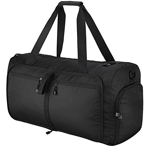 Travel Duffel Bag, OMorc 60L Large Foldable Sports and Gym Duffle Bag, Water-Resistant Travel Duffle Bag with Removable Shoulder Strap for Women and Men - Black