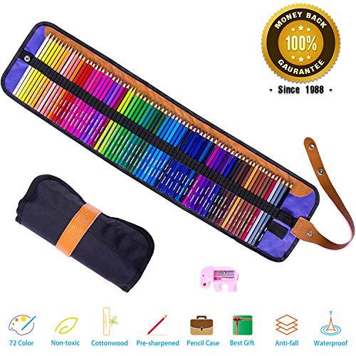 Buntstifte Set,Rock Ninja 72 Farben Bleistift mit Premium Black Roll-Up Canvas Hülle für