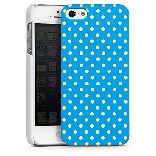 Apple iPhone 5s Housse Étui Protection Coque Petits points Bleu Bleu CasDur blanc
