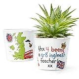 Blumentopf (ø16cm) | Lustiges Geschenk für einen Englisch Lehrer | Thx 4 beeng a gr8 ingleesh teecher xx
