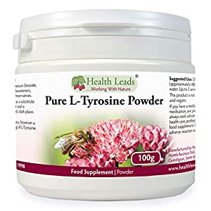 51DOdl92qeL. SS300  - Pure L-Tyrosine Powder 100g | High Quality Pharmaceutical Grade | Amino Acids The Building Blocks of Life | Sports & Active Nutrition from Health Leads UK