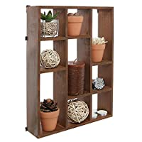 MyGift 38CM Wall Mount (Vertical or Horizonal) 9 Slot Rustic Wood Floating Shelves/Freestanding Shadow Box