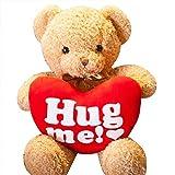Bambola di peluche orsacchiotto di peluche, orsetto di peluche giocattolo Orso di cuore Miglior regalo per San Valentino Regalo di compleanno Proponi oggetti di fidanzamento, 16 pollici (HUG ME)
