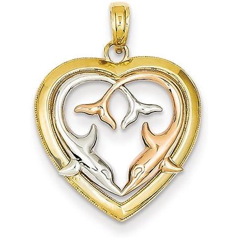 Icecarats Joyas De Diseño Amarillo De 14K De Oro Rosa W / Rodio Delfines De Corte De Diamante En Corazón Colgante