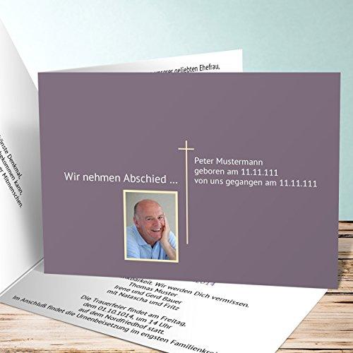 Einladungskarten Beerdigung, Schlichter Gruß mit Foto 10 Karten, Horizontale Klappkarte 148x105 inkl. weiße Umschläge, Braun