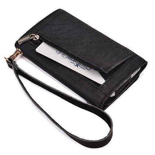 Kroo Pochette en cuir véritable téléphone portable Housse de protection d'écran haute qualité pour Allview Impera I/P7Xtreme noir - noir noir - noir
