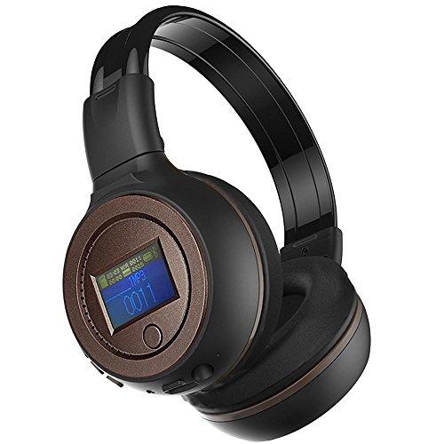 Auriculares inalámbricos Bluetooth, KanLin1986 Auriculares plegables Bluetooth Auriculares inalámbricos Handfree MP3 / MAV Formatos Auriculares de música con micrófono, tarjeta de apoyo Micro SD / tarjeta TF, auriculares de audio para MP3 celular (café)