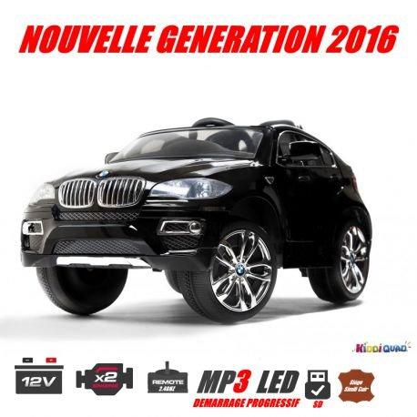 BMW X6, Noir Métallisée, voiture électrique enfant, 12 volts, 2 moteurs