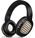 Bluetooth Headphones, Riwbox WB5 Bluetooth 4.2 Wireless Headphones Over Ear with Microphone and SD Card Slot, 5 EQ Sound Modes,Wireless & Wired Foldable Stereo Headset for PC/ Cell Phones/ TV/ Iphone/ Ipad (Black Gold)