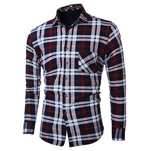 YFF Weihnachten Geschenk Männer Plaid Shirt mit Plüsch Verdickung, Rot, XXXL (Leinen-strickjacke Kaschmir)