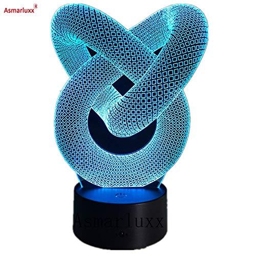 Liebesknotenabstraktes rundes gewundenes bestes Nachtlichtgeschenk des Glühlampehologrammillusionsfarbänderungsdekorationslichtes